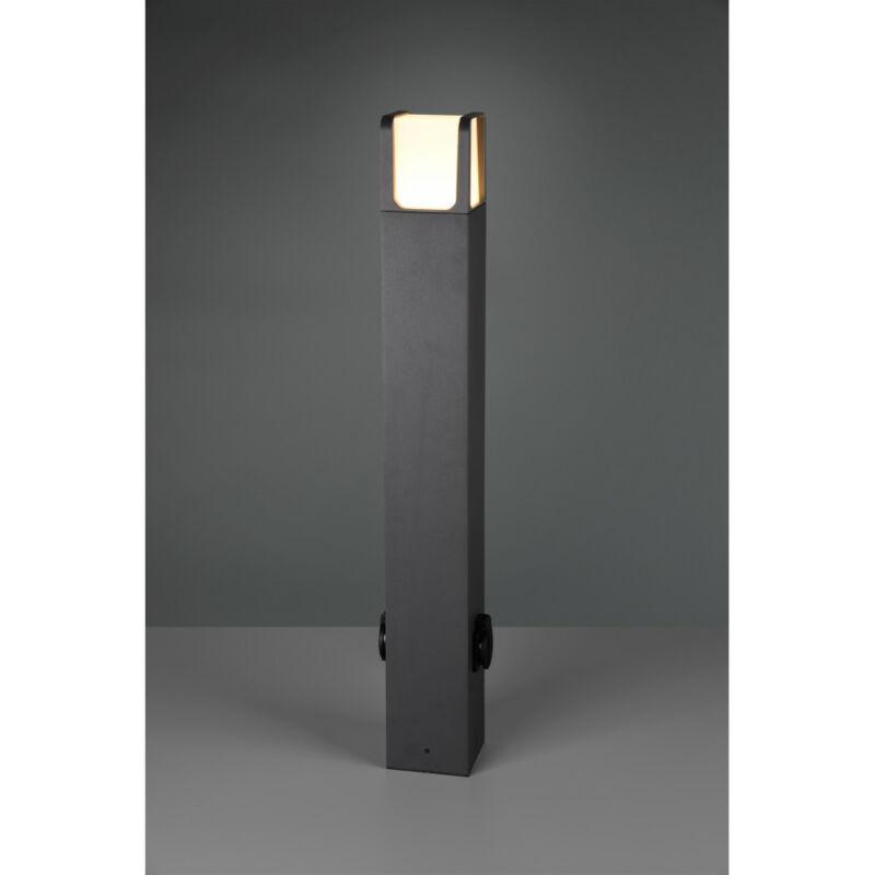 Trio EBRO 422167142 kültéri led állólámpa incl. 6W LED/ 3000K/ 650Lm + 2 Steckdosen