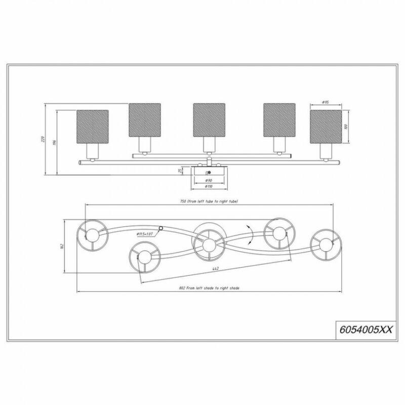 Trio GARDA 605400589 mennyezeti lámpa matt nikkel fém excl. 5 x E14, max. 25W E14 5 db IP20
