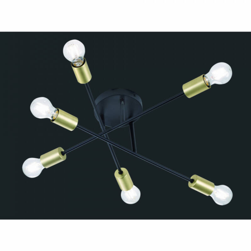 Trio CROSS 606700632 mennyezeti lámpa  matt fekete   fém   excl. 6 x E27, max. 40W   E27   6 db  IP20