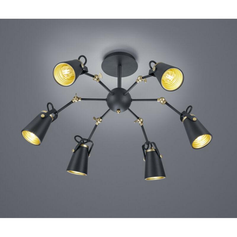Trio EDWARD 608800632 mennyezeti lámpa  matt fekete   fém   excl. 6 x E14, max. 40W   IP20