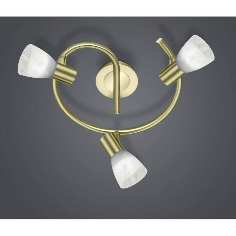 Trio LEVISTO 871090308 mennyezeti lámpa sárgaréz fém incl. 3 x E14, 5W, 3000K, 400Lm E14 3 db 470 lm 3000 K IP20