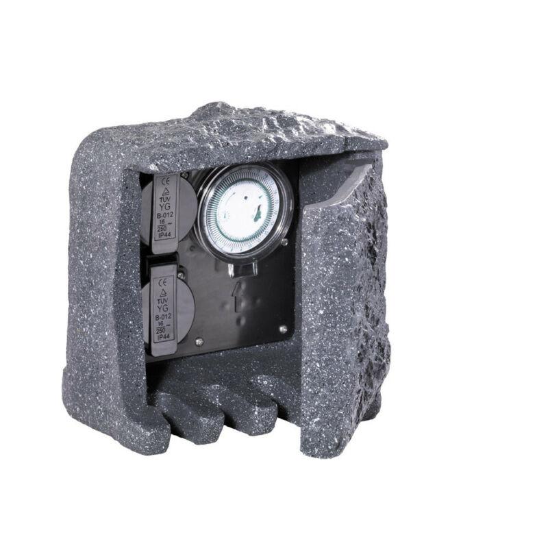 Trio GARDEN SOCKET 9961-11 kültéri dugalj szürke műanyag incl. 2 x Schuko-Plug & Timer IP44