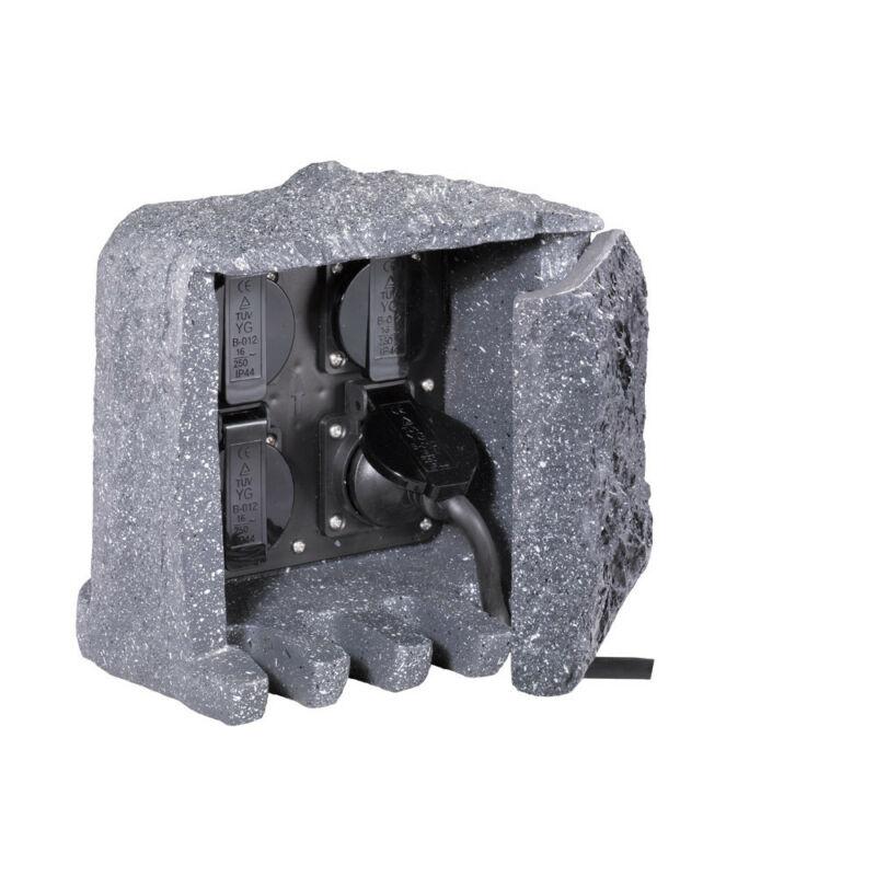 Trio GARDEN SOCKET 9962-11 kültéri dugalj szürke műanyag incl. 4 x Schuko-Plug IP44