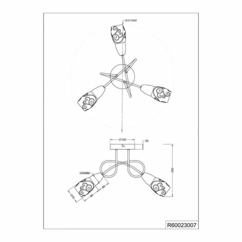 Trio COLMAR R60023007 mennyezeti lámpa  matt nikkel   fém   excl. 3 x E14, max. 28W   IP20